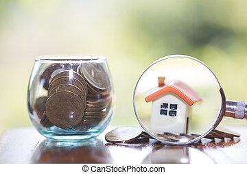 concept., hypotheek, woning, glas, miniatuur, keuze, vergroten, huisvesting, plaats, bouwsector, munt, huur, grondig