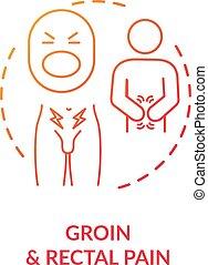 concept, icône, aine, douleur, rectal