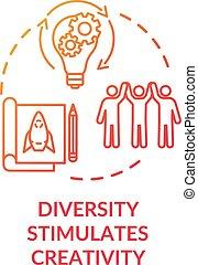 concept, icône, rouges, créativité, diversité, stimulates