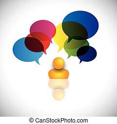 concept, icône, signes, rêves, pensées, etc, aussi, questions, indiquer, puzzles, ideas., idées, doutes, homme, représente, graphique, imagination, personne, vecteur, opinions, ou, parler