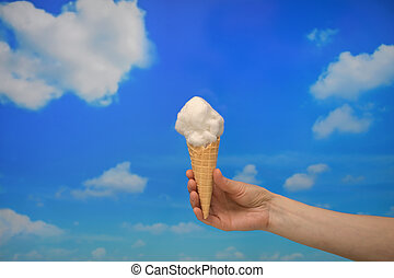 Ice cream cone and Cotton like Clouds