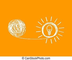 concept icon showing untangling a tangled line into a ...