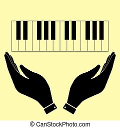 Concept icon with hands - Piano Keyboard sign. Flat style...
