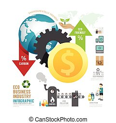 concept, icones affaires, eco, industrie, infographic