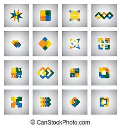 concept, icones affaires, -, formes, couleurs, vecteur, divers, gra