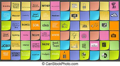 concept, icones affaires, main, note, stratégie, mots,...
