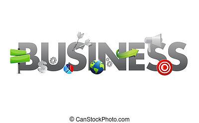 concept, icones affaires, texte, illustration, conception