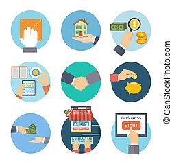 concept, icones affaires