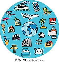 concept icons for travel