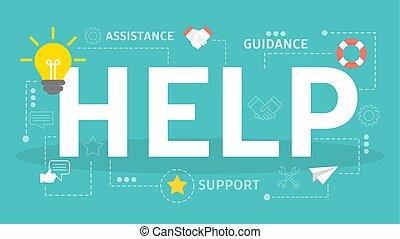 concept., idée, client, aide, soutien, service