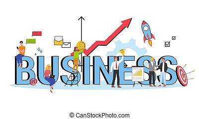 concept., idée commerciale, stratégie, collaboration, accomplissement