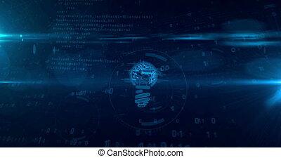 concept, idée, cyber, forme, animation, nouveau, ampoule, boucle