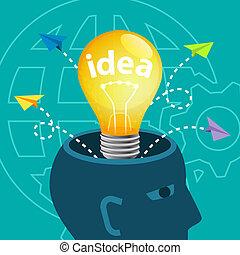 concept, idée génie, idées