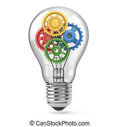 concept., idea, gears., perpetuum, bulbo, luce, mobile