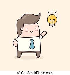 concept., idea, giovane, idea., nuovo, prendere, uomo