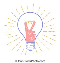 concept idea in the form of a light bulb with a gesture of...