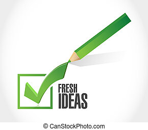concept, ideeën, meldingsbord, fris, mark, controleren
