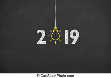 concept, idee, 2019, chalkboard, achtergrond, jaar, nieuw