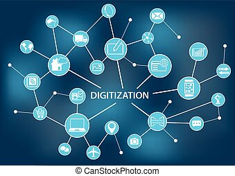 concept, illu, vecteur, digitization