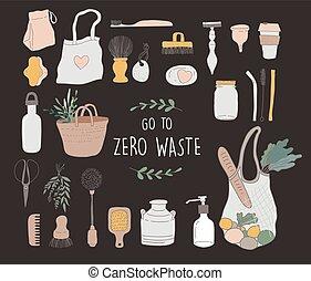 concept, illustratie, afval, nul, vector, groene, milieu, gaan, design.