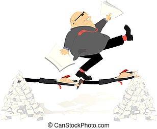 concept, illustratie, baas, werknemers