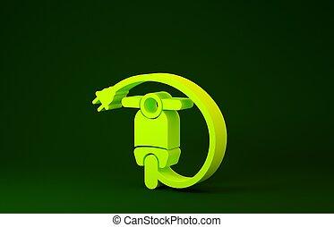 concept., illustration, électrique, minimalisme, icône, arrière-plan., vert, jaune, scooter, 3d, isolé, render