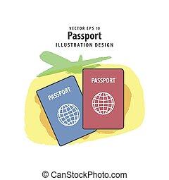 concept., illustration, bakgrund., vektor, pass, resa