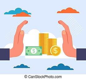 concept., illustration, banque, vecteur, conception, dessin animé, graphique, économies, plat, argent
