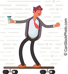 concept, illustration., bereikte, winnaar, skateboard., zakenman, heeft, success.