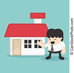 Concept illustration business offering home loans or house for rent vector illustration.