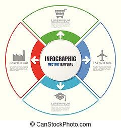 concept, illustration., business, options., infographic., créatif, chart., processus, vecteur, 4, gabarit, présentation
