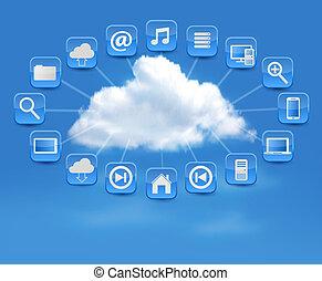 concept, illustration., calculer, icons., vecteur, fond, nuage