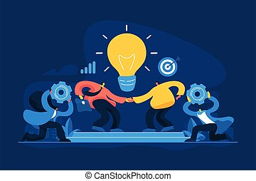 concept, illustration, collaboration, vecteur