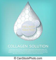 concept, illustration, collagène, solution, vecteur, soin peau