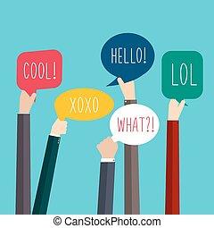 concept, illustration., coloré, bubbles., média, social, intégration, homme affaires, words., vecteur, parole, tenant mains, collaboration, bulles