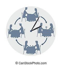 concept, illustration, dater, isolé, arrière-plan., vecteur, blanc, vitesse