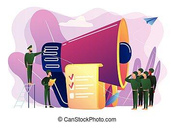 concept, illustration., dienst, vector, militair, compulsory