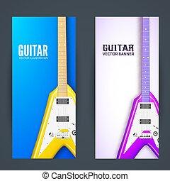 concept., illustration, guitare, vecteur, conception, fond, bannière