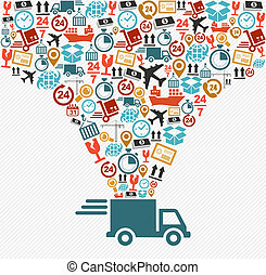 concept, illustration., iconen, snelle levering, set, vrachtwagen, expeditie