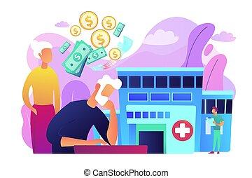 concept, illustration., kosten, vector, gezondheidszorg, pensioentrekkeren