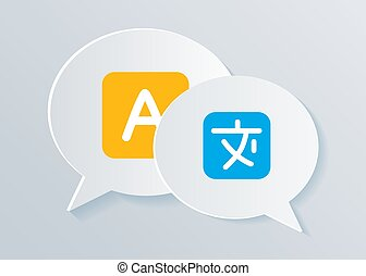 concept, illustration., langue, icônes, communication, shapes., étranger, conversation, bavarder, international, traduction, bulle