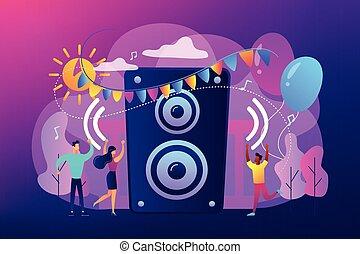 concept, illustration., lucht, vector, feestje, open