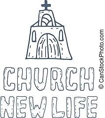 concept, illustration, main, vecteur, église, dessiné