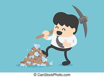 concept illustration of a businessman digging meet diamonds