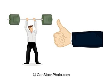 Concept illustration of a businessman lifting a heavy weight...