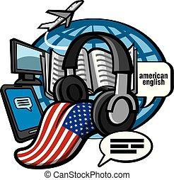 american english language courses - concept illustration of ...