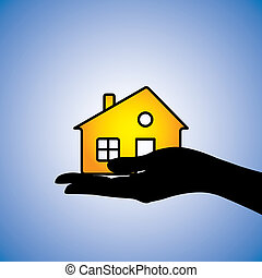 Concept illustration of buying/selling of house/home. This...