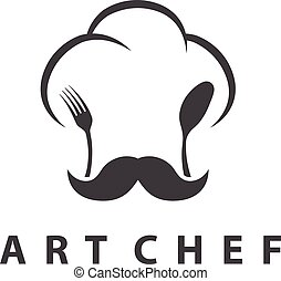 Concept illustration of chef's hat with fork and spoon. Vector