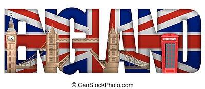 england incscription with landmarks