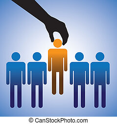 Concept illustration of hiring the best candidate. The graphic shows company making a choice of the person with right skills for the job among many candidates